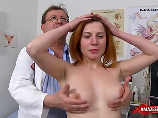 Redhead doctor gaping everywhere money shot