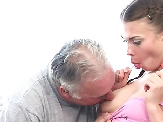 Pigtailed puniness welcomes old friend's cock here tight asshole